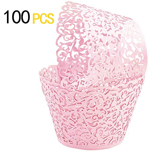 Floral Cupcake Wrapper - GOLF 100Pcs Cupcake Wrappers | Artistic Bake Cake Paper Filigree Little Vine Lace Laser Cut Liner Baking Cup Wraps Muffin CaseTrays for Wedding Party Birthday Decoration (Pink)