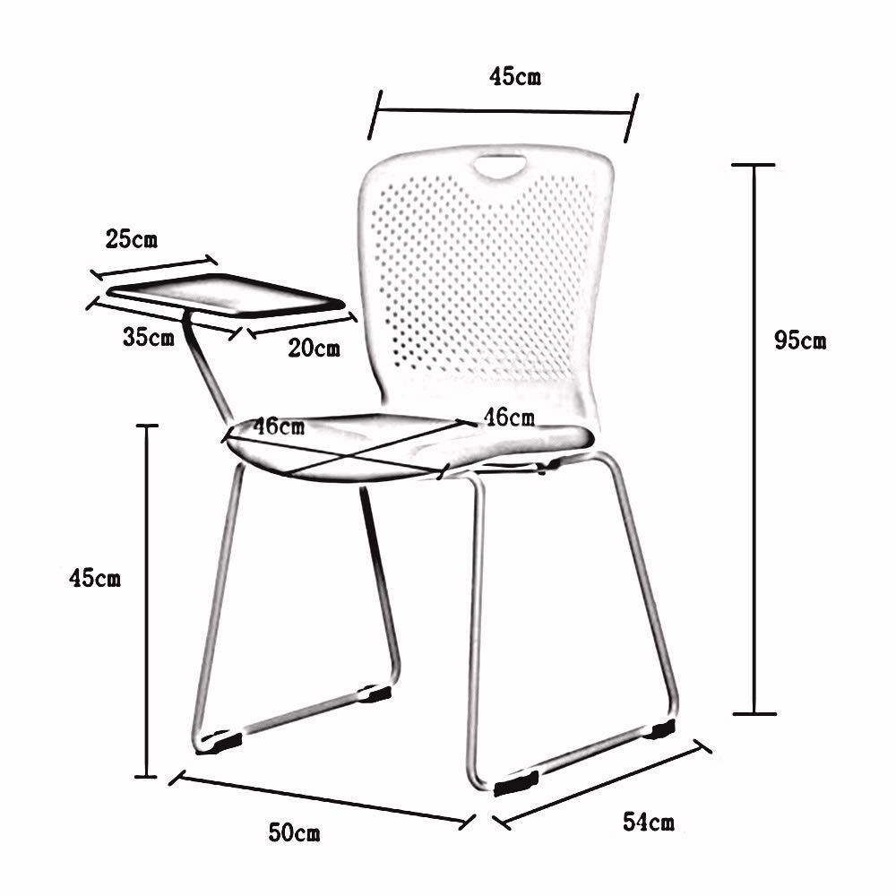 ZZHZY BBGS träningsstol, med surfplatta konferensstol mottagning förstärkt plaststol kontor personal möte mottagning teel ram ryggstöd stol (färg: svart) gRÖN