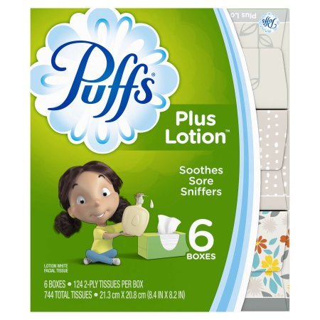 (Puffs Plus Lotion White Facial Tissues, 6 Boxes, Count of 124)