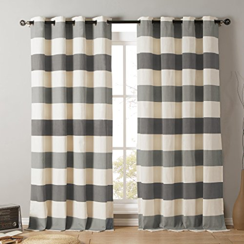 Striped Cotton Blend Grommet Top Window Curtain Pair Panel Insulated Drapes For Bedroom, Livingroom, Kids, Children, Nursery - Assorted Colors - 38 by 84 Inch, Set of 2 Panels - Light Grey | Grey