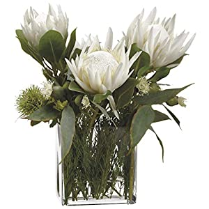 Innovations Lifelike White Protea and Greenery Floral Arrangement 45
