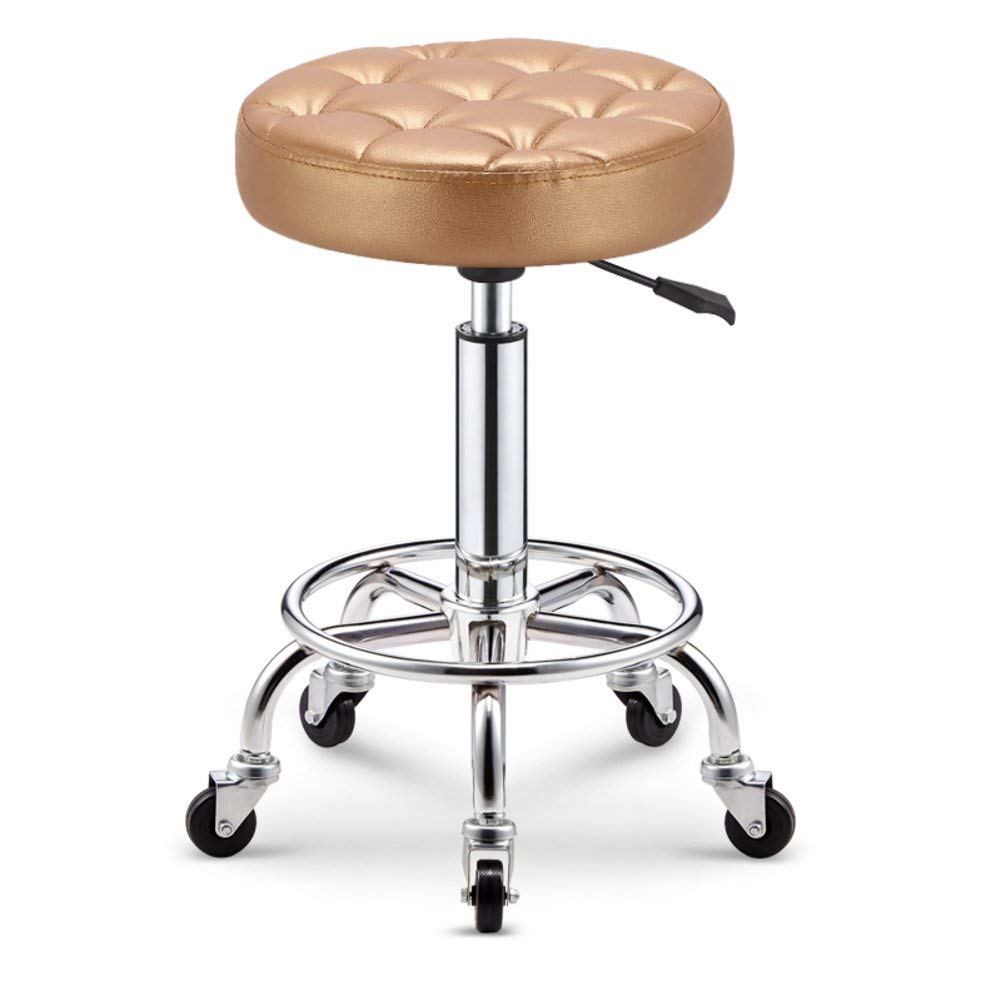 W DYR Swivel Wheels Bar stools Round Stool, Breakfast stools bar Chair Adjustable Height High Chair Beauty Stool for Kitchen Home Counter-FF
