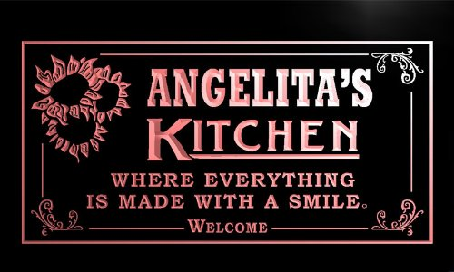 ps920-r Angelita's Personalized Welcome Kitchen Bar Wine Neon Light Sign
