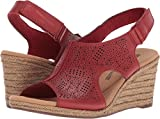 CLARKS Lafley Rosen Womens Wedge Sandals RED Leather 11