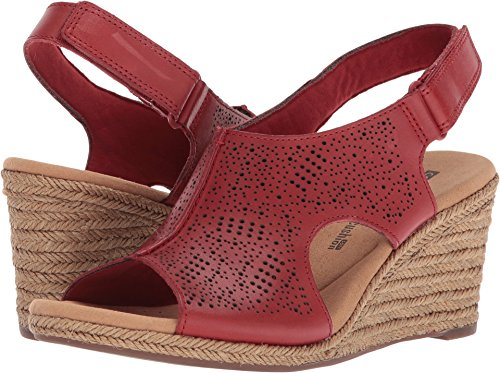 (CLARKS Women's Lafley Rosen Red Leather 12 B US)