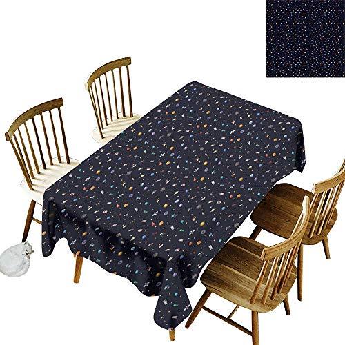 kangkaishi Spaceship Iron-Free, Anti-fouling Holiday Long Tablecloth Table