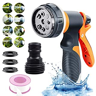 Garden Hose Nozzle,Water Hose Spray Nozzle with 8 Adjustable Watering Patterns,Slip and Shock Resistant High Pressure Garden Sprayer for Car Wash, Cleaning, Watering Lawn and Garden and Showering Pets