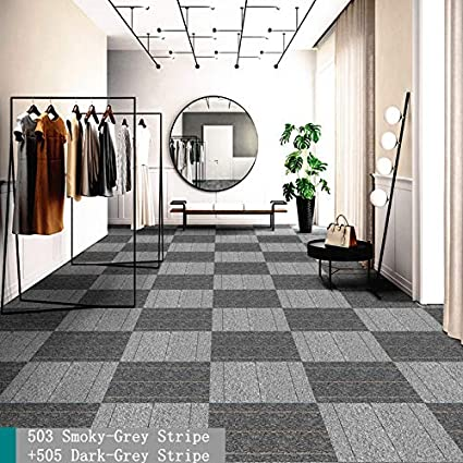 Commercial Carpet Tiles Stick Rug for Office Hotel Meeting Room Living Room Decor with Non-Slip Asphalt Bottom Backing Free Tapes 20x20inch,Smoky-Dark-Grey,12tiles