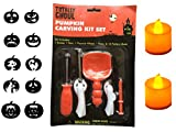 TWICHAN Pumpkin Carving Kit for Kids 5-Pieces Carving Tools Set 2 LED Candle 10 Carving Stencils For Sale