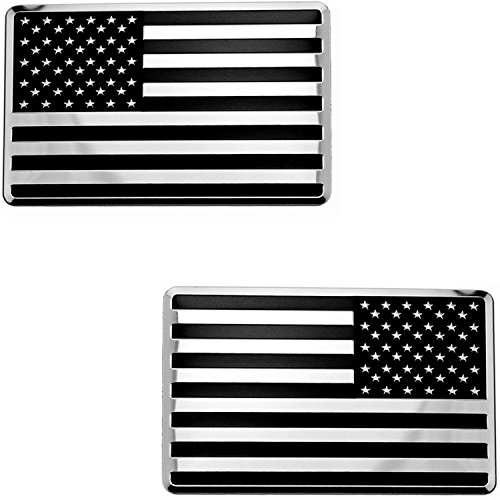 2x USA American Embossed Stainless Steel Metal Flag for Cars Trucks (3.12 x 2, Black & Chrome set Left & Right)