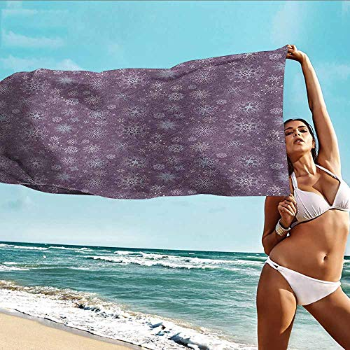 Personalized Beach Towel Snowflake,Christmas Themed Floral Arrangement Ornamental Swirls and Curves Winter,Levander Violet,Bath Towel Personality Soft and Comfortable 32