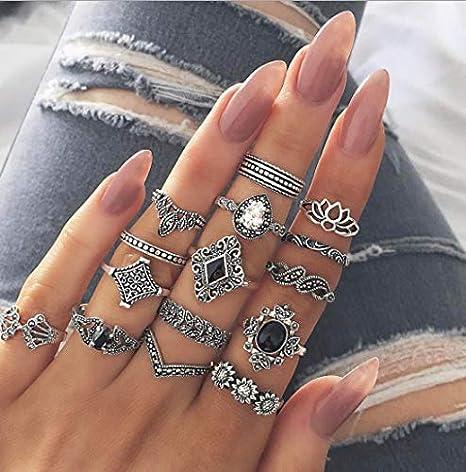 Arimy Juego de anillos de nudillos vintage de plata bohemio, cuadrados, con piedras geométricas, apilables, accesorios de mano para mujeres y niñas (15 piezas)
