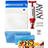 Wishbox Sous Vide bags kit for Anova, Joule, Chefsteps, Gourmia, Precision Immersion Cookers .10 Reusable BPA Free Bags for Food Storage, 2 zip Sealer & 4 Container Clips, 1 Vacuum Hand Pump