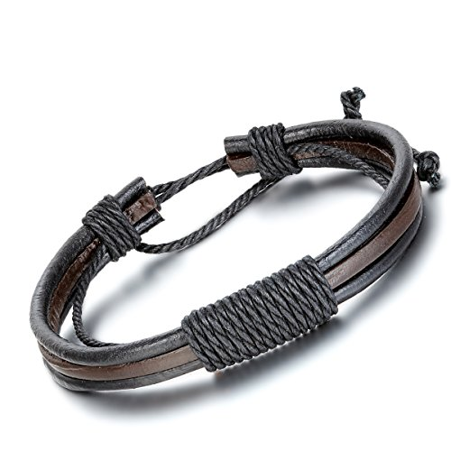 Flongo Braided Leather Bracelet Adjustable