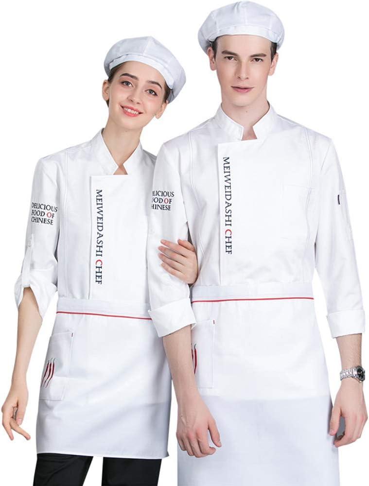 XRRa&XF Unisexo Mujeres Hombre Verano Manga Larga Camisa de Cocinero Transpirable Chaquetas de Chef Uniforme Cocina Restaurante Occidental,003,XL: Amazon.es: Deportes y aire libre