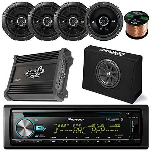 "Pioneer DEHX6800BT CD Receiver Bundle Combo With Kicker 10"" Inch 300W Audio Subwoofers + 4x Kicker DSC6504 6.5"