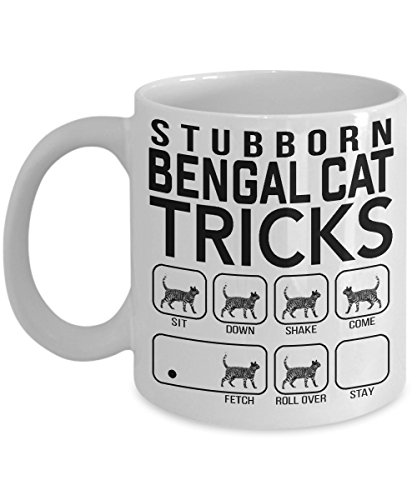 Stubborn Bengal Cat Tricks - Awesome Cat Fetch Mug - Best Cat Trainer Cup Ever - Funny Coffee Bengal Cat Mug - Perfect Idea Gift