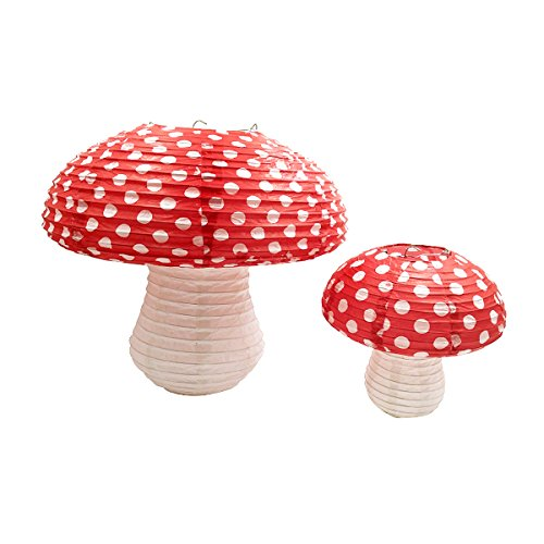 NICROLANDEE 3D Mushroom Shaped Chinese/Japanese Hanging Paper Lanterns for Fairy Party Alice in Wonderland Kids Room Decor Nursery Decor Kids Toys Baby Shower Birthday 2 Pcs (Different Sized)