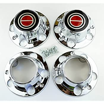 Set of 4 New 1980-1996 Ford F150 Truck Bronco Van 4x4 Wheel Hub Center Caps Chrome Red 4wd 4 wheel drive