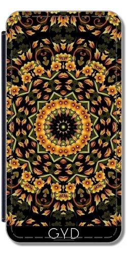 Leder Flip Case Tasche Hülle für Apple Iphone 7 Plus / 8 Plus - Schwarze Gold Blumenmandala by Nina Baydur