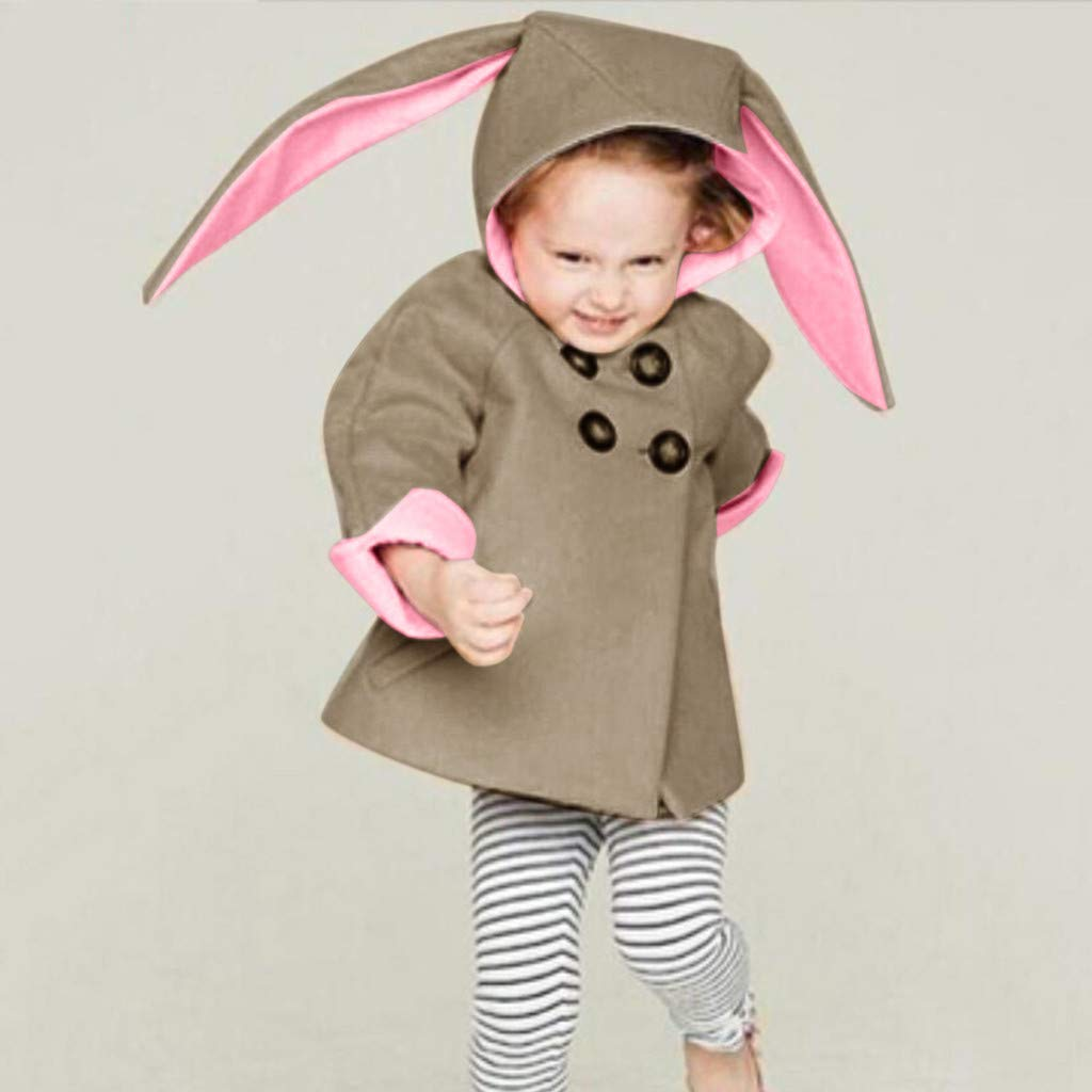 KASSD Kids Baby Winter Cartoon Rabbit Ears Hooded Jacket Warm Coat Clothes 3 Months-5 Years