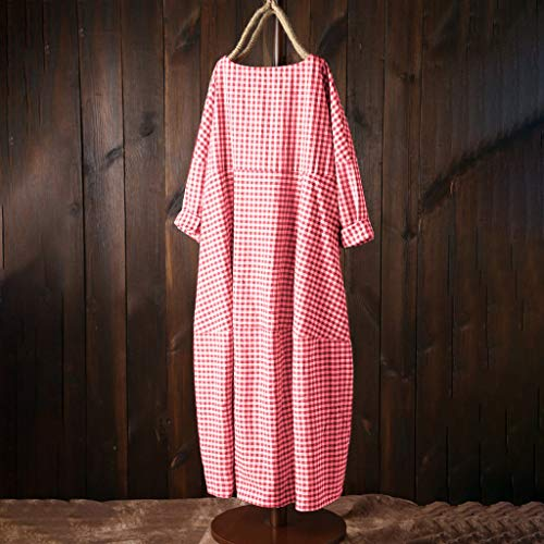 Transser Womens Summer Casual Loose Cotton Linen Plaid Button Down Dresses Short Sleeve Swing Dress Big and Tall Plus Size L-5XL