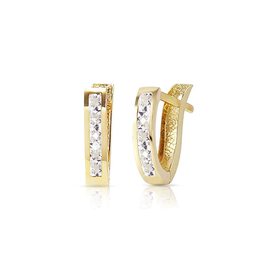 14K Solid Gold Oval Huggie Earrings with White Topaz