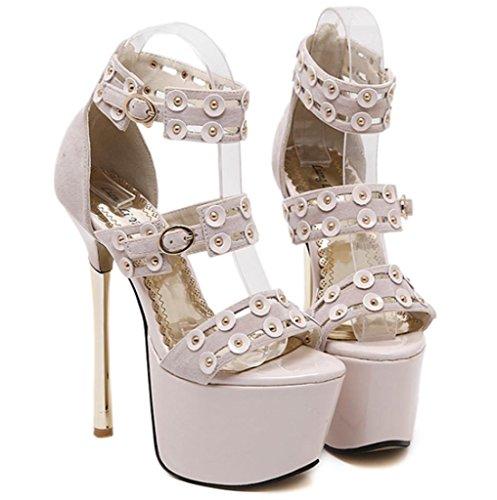 MNII Black Platform High Heels Mit Gold Buckles High Heel Nachtclub Model Bankett Party Apricot