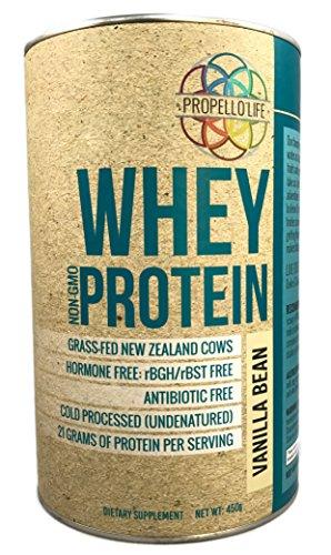 Propello Life Grass-fed, Hormone Free, Antibiotic Free, Whey Protein, Vanilla Bean, 450 (Life Whey Protein)