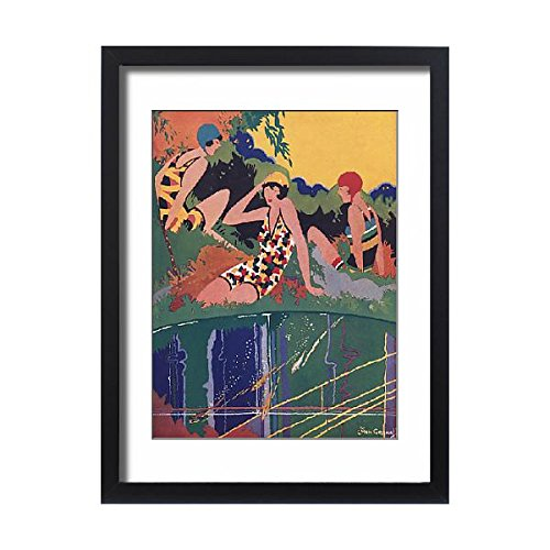 Framed 24x18 Print of Ye Goddesses and Little Fishes by Jack Greenall (Colourful Girls Swimming Costumes)