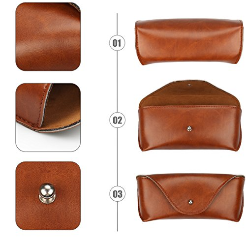 Portable Leather Glasses Case,Flexible Sunglasses Pouch Slim Case for Women Men Horizontal Eyeglass Case