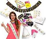 "Ultimate Bachelorette Party Decorations - Large 71 Piece Kit of Bridal Shower Supplies - ""Bride to Be"" Banner, Veil, Sash; 10 Balloons, 18 Tattoos; 10 Funny Straws; 28 Photo Props; 2 Party Games"