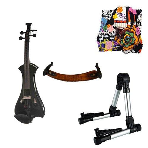 Meisel Electric Violin Pack Black w/Silver Stand, Tuner & Skull Rosin