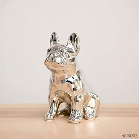 Figurine de chien bouledogue fran/çais Leonardo en argent