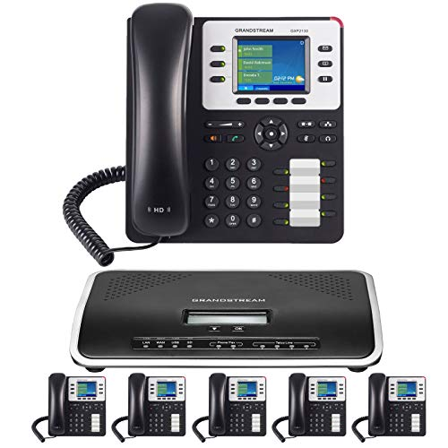 Business Phone System by Grandstream: Enhanced Package Including Auto Attendant, Voicemail, Cell & Remote Phone Extensions, Call Recording & Free Phone Service for 1 Year (6 Phone Bundle)