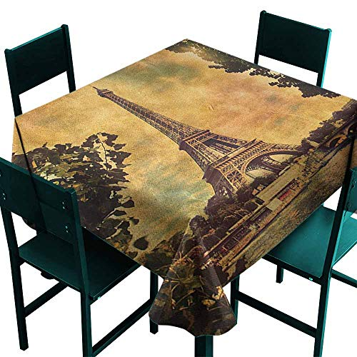 Eiffel Tower Stain-Resistant Tablecloth Eiffel Tower Trees River Bridge Water Daytime Landmark Oil Painting Design for Kitchen Dinning Tabletop Decoration W60 x L60 Brown Mustard