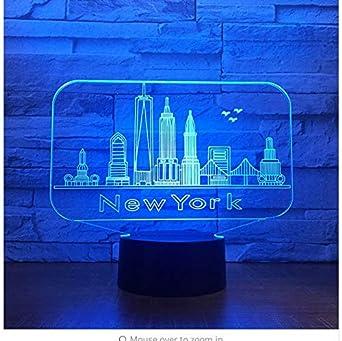 Ciudad de Nueva York Edificio 3D Luz nocturna nocturna Luz ...