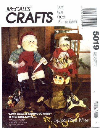 McCall's 5019 Crafts Sewing Pattern Christmas Holiday Santa Mrs. Claus Elf Doll - Doll Pattern Elf