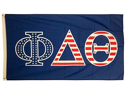 Phi Delta Theta USA Letter Fraternity Flag Greek Letter Use as a Banner Large 3 x 5 Feet Sign Decor Phi Delt ()