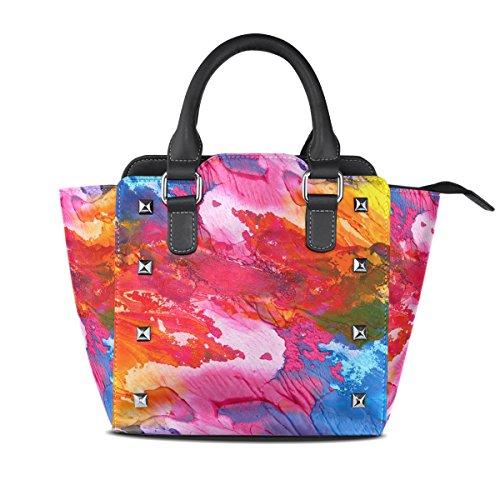 COOSUN Mujeres Abstracto Acrílico bolsos de mano Fondo pintado de la PU de hombro de cuero Top-Manija del totalizador del bolso del bolso de Crossbody Medio Multicolor