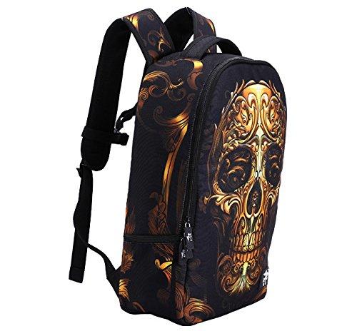 Tofern Laptop skull Shoulder For Bag dog 3 Outdoor Printed Backpack Trip School Teenage Daypack Leisure Animal Personalized Skulls Cool rwpHRTzr