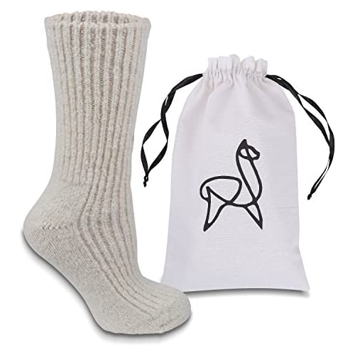 Alparino Alpaca Wool Slipper Socks. Soft, Breathable and Warm Luxury Gift Idea or Indulge Yourself.…, White, Medium