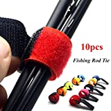 Fishing Rod Belts,Stretchy Magic Bait Casting Spinning Rod Straps with Anti Buckle Fish Pole Holders Random Color 10PC