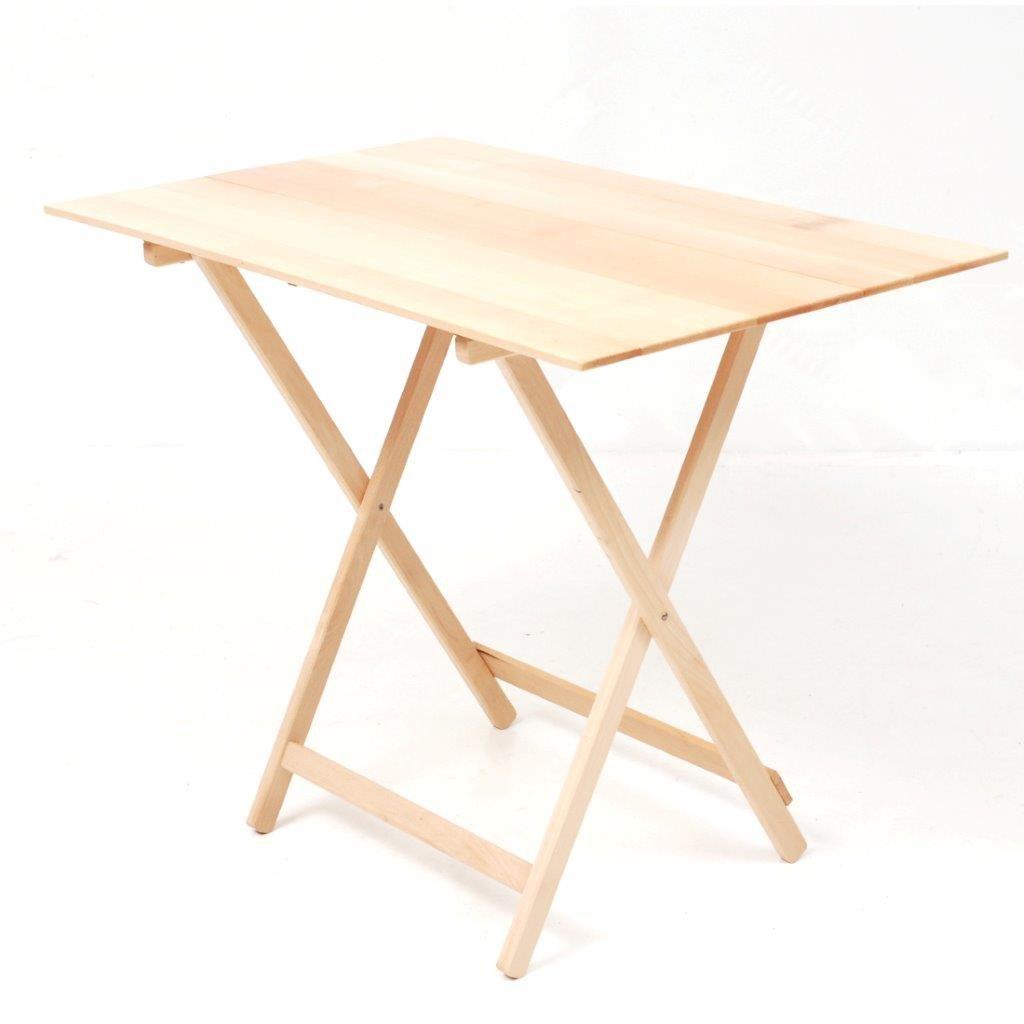 Tavolo chiudibile in legno di faggio, piano con doghe in legno e regolabile a 3 altezze. salmar