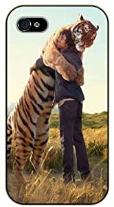 For SamSung Galaxy S5 Case Cover Man hugging siberian tiger, friendship - black plastic case / Nature, Animals, Places Series