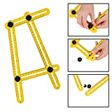 Template Tool - Premium Grade Plastic Ruler, Easy to Use Four Sided, Multi-Angle Measuring Instrument Perfect for Handyman, Craftsman, Builders and DIY-ers (Yellow)
