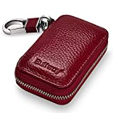 Automotive : Buffway Car key Chain bag,Genuine Leather Car Smart KeyChain Coin Holder Metal Hook and Keyring Wallet Zipper Case for Auto Remote Key Fob - Cherry