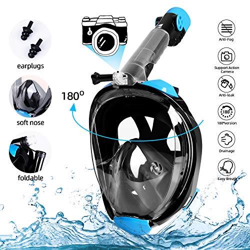 Comprar Máscara de Buceo Snorkel Plegable Completa - Vista panorámica HD de 180 ° Compatible con Soporte para cámara GoPro - Envíos Baratos O Gratis