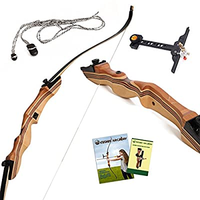 "Takedown Recurve Bow and Arrow - 62"" Recurve hunting bow 15-35lb draw back weight - Right and Left handed - Included Rest, Stringer Tool, Sight and Full assembly instructions -Keshes Archery"