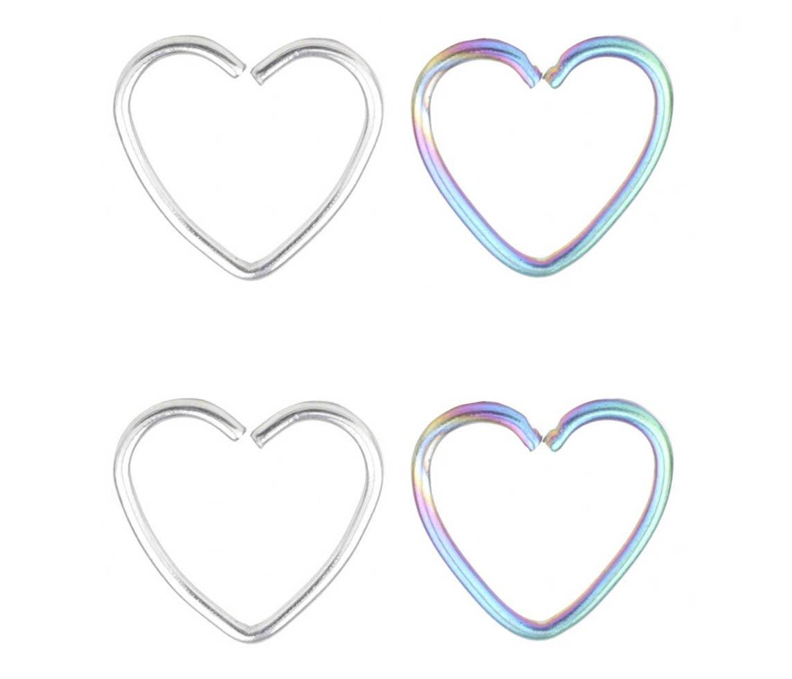 22g Nose Ring Nose Hoop Heart Shaped Cartilage Hoop Earrings Set